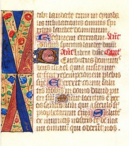 "Illuminated Manuscript: ""The Benedictus"" from a 15th Century French Prayer Book Credit: The Manhattan Rare Book Company"