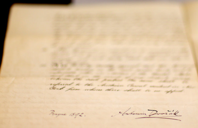 "A copy of the handwritten contract includes Antonin Dvorak's signature and the notation ""Prague 1892."" Credit: Chang W. Lee/The New York Times"