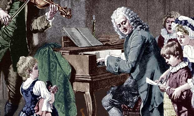 Woodcut of JS Bach at the clavichord, with his family. Photograph: Corbis