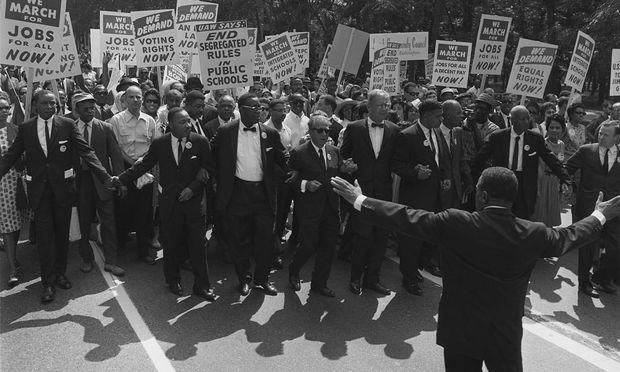 The March on Washington, August 28, 1963. Civil rights and union leaders, including Martin Luther King Jr., Joseph L. Rauh Jr., Whitney Young and others pictured. (United States Information Agency/Wikimedia Commons)