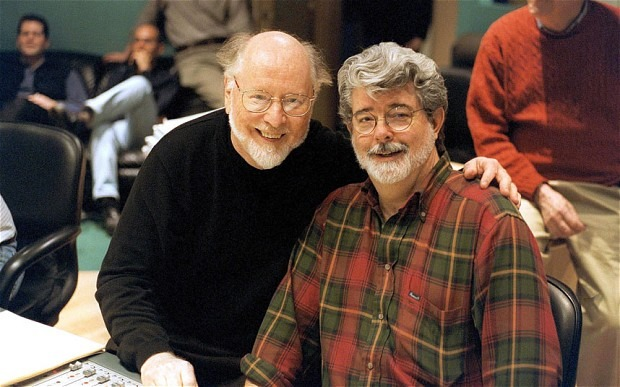 Sounding board: John Williams and George Lucas at Abbey Road studios, 2002 Photo: Rex