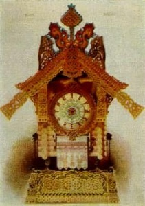 The hut of Baba-Yaga on hen's legs–clock in the Russian Style