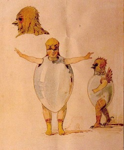 Sketch for the costumes for the ballet of the Unhatched Chicks for the ballet Trilby