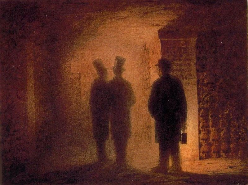 Paris catacombs(with the figures of V. A. Hartmann, V. A. Kenel, and a guide, holding a lantern)