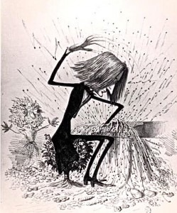 Caricature of Franz Liszt at the piano, circa 1845