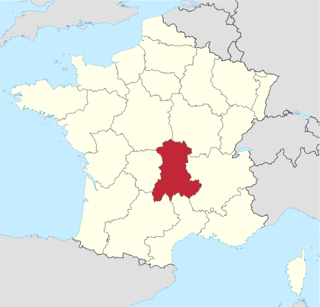 Location of the Auvergne