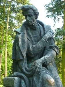 Chopin's statue inside the park of Żelazowa Wola, his birthplace