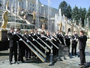 The Russian Horn Capella in front of the Peterhof Fountains, St. Petersburg