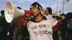 A Chinese student at the 1989 Tiananmen Square protests, where speakers playing Beethoven's Ninth Symphony were rigged up to drown out government broadcasts.Battle Hymns Productions