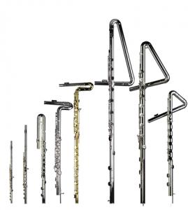 Alto, bass, upright bass, contra'alto flute, contrabass, and subcontrabass flutes by Eva Kingma.