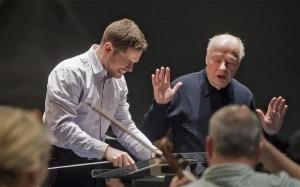 Learning curve: Bernard Haitink with Israeli conductor Jonathan Spandorf at a Lucerne Festival masterclass Photo: Georg Anderhub