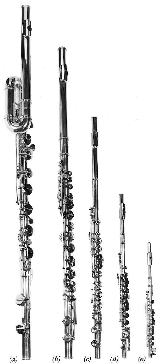 Modern orchestral flutes by Rudall, Carte & Co.: (a) bass in C; (b) alto in G; (c) concert in C; (d) treble in G; (e) piccolo in C