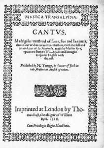 Musica Transalpina, 1588