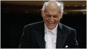 Sir Georg Solti, WOP Founder, at the conclusion of conducting the opening work, Rossini's William Tell overture, at the first concert of the World Orchestra for Peace, Victoria Hall, Geneva on 5th July 1995