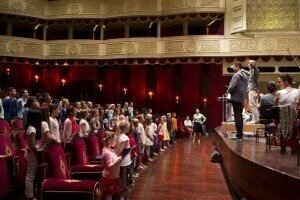 Children rehearsing for Carmina Burana. Note the very plush seating in the Opera House!