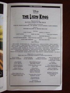 Lion King Stagebill program:  inside in black and white