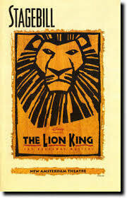 Lion King Stagebill program: outside in color