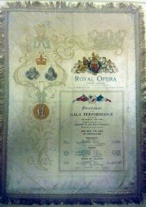 Silk program for Royal performance at the Royal Opera, Covent Garden, 1923 (provided courtesy the British Library)