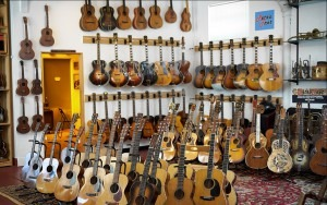 Inventory at Retrofret Vintage Guitars in Brooklyn, N.Y., includes more than 1,600 instruments such as acoustic and electric guitars. RETROFRET/ASLAENDER