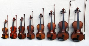 Violins from 1/16th size to regular