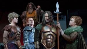 Das Rheingold at the Met:  Adam Diegel as Froh, Dwayne Croft as Donner, Bryn Terfel as Wotan and Stephanie Blythe as Fricka. Photo: Ken Howard/Metropolitan Opera