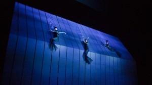 "The Rheinmaidens appear to swim, atop the production's massive unit set called ""The Machine"". Photo: Ken Howard/Metropolitan Opera"