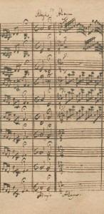 Bach: Manuscript for Brandenburg No. 3, end of 1st movement, entire second movement (Adagio), beginning of third movement (Allegro)