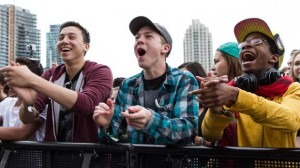 The crowd cheers on a band at Field Trip, a two-day summer festival in Toronto.(Lucia Graca)