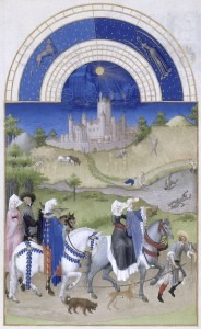 Tres Riches Heures du Jean Duc du Berry. August. Hunting, Swimming, and Harvesting