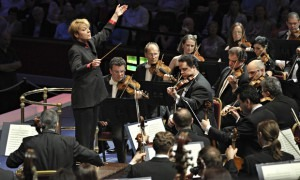 Marin Alsop conducting at the BBC Proms in 2012. The following year she became the first woman to conduct the festival's closing night. Photograph: Chris Christodoulou/Lebrecht