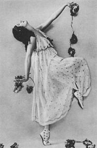 Anna Pavlova as a bacchante in Autumn. St. Petersburg, 1907.