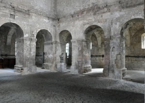 "Inside St. Burchardi. The horizontal black line on the wall is for ""sound year"" plaques.Photo: Hoger/Creative Commons"