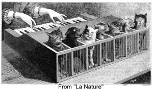 Illustration of a cat-organ, from La Nature (1883). Credit: Messy Beast.
