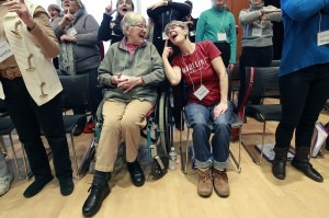 Joanne Hart took cue from her daughter Naomi Hart during rehearsal for the Giving Voice Chorus at the MacPhail Center, Wednesday, February 11, 2015 in Minneapolis, MN. The chorus is open to Alzheimer's patients and their caregivers.Credit: Elizabeth Flores