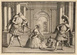 Gaetano Berenstadt (alto castrato) on the far right, the soprano Francesca Cuzzoni (soprano) in the centre and Senesino (contralto castrato) on the left in a production of Handel's Flavio.