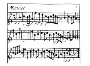 18th century violin score with 't' and 'p' markings