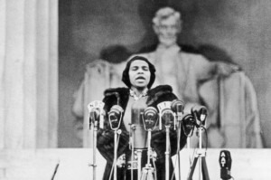 American opera singer Marian Anderson performs on the steps of the Lincoln Memorial in Washington, DC on April 9, 1939.Credit: Hulton Archive/Getty Images