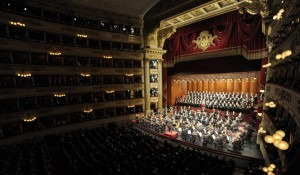 Argentine conductor Daniel Barenboim (C) directs Beethoven's Ninth Symphony in honor of Pope Benedict XVI (not pictured) at La Scala opera house in Milan June 1, 2012.OSSERVATORE ROMANO/POOL/REUTERS