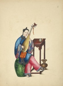 Woman playing a Pipa