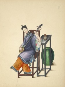 Woman playing a Sanxian