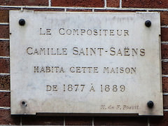 Plaque for Camille Saint-Saëns