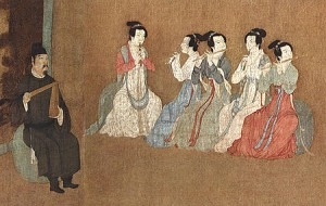 Detail of 12th-century Song Dynasty painting depicting three guan players and two dizi players.