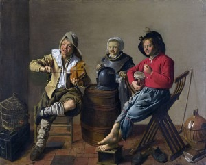 Jan Miense Molenaer's Two Boys and a Girl Making Music