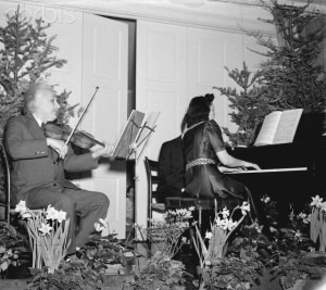 Albert Einstein and Gaby Casadesus Giving Recital