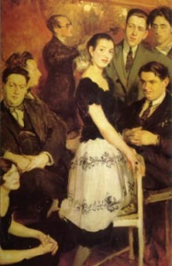 Le Groupe des six, 1921 painting by Jacques-Émile Blanche. In the center: pianist Marcelle Meyer. On the left, from bottom to top: Germaine Tailleferre, Darius Milhaud, Arthur Honegger, Louis Durey. On the right, standing Francis Poulenc, Jean Cocteau; and seated Georges Auric.