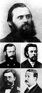 Mily Balakirev (top), César Cui (upper left), Modest Mussorgsky (upper right), Nikolai Rimsky-Korsakov (lower left), Alexander Borodin (lower right)