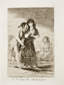 Goya: Capricho № 7: Ni asi la distingue (Even so he cannot make her out)