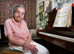 2010: Portrait of Alice Herz-Sommer at 106, at her flat in Belsize Park, London. Alice survived the Theresienstadt concentration camp in Czechoslovakia where she had to play the piano for the NazisPhotograph: Sophia Evans for the Observer