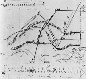 Poème électronique sketch score for final section