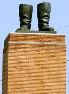 A recreation of the statue of Joseph Stalin, toppled during the Hungarian revolution